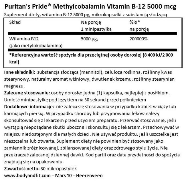 Methylcobalamin Vitamin B-12 5000 µg Nutritional Information 1