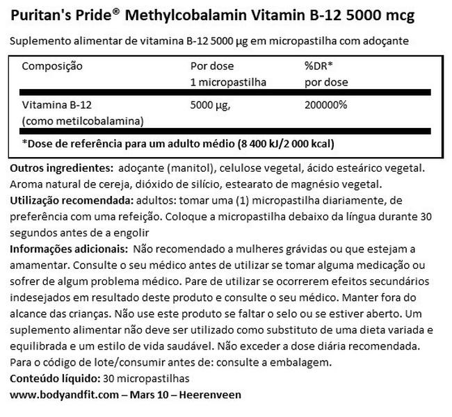 Methylcobalamin Vitamin B-12 5000µg Nutritional Information 1
