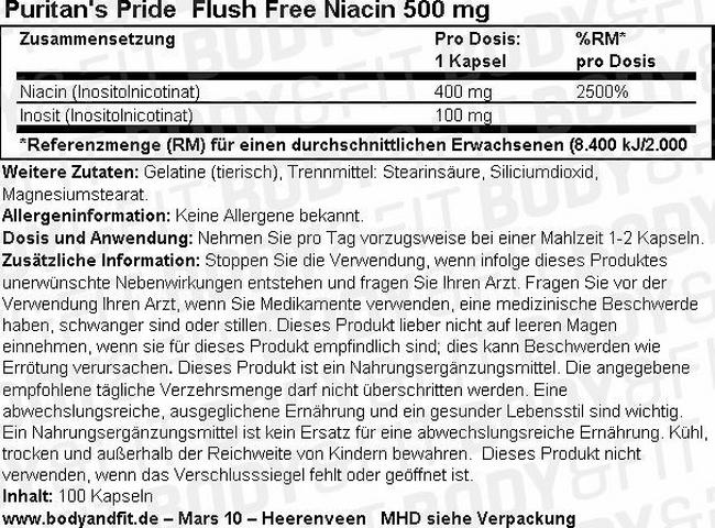 Flush Free Niacin 500 mg Nutritional Information 1