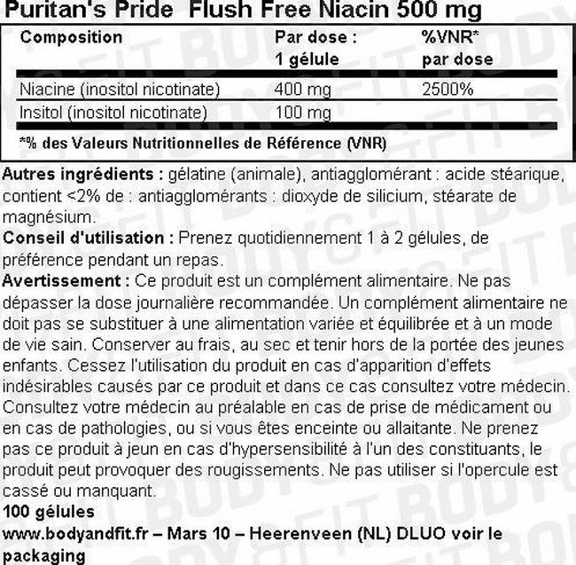 Flush Free Niacin 500 mg Nutritional Information 1