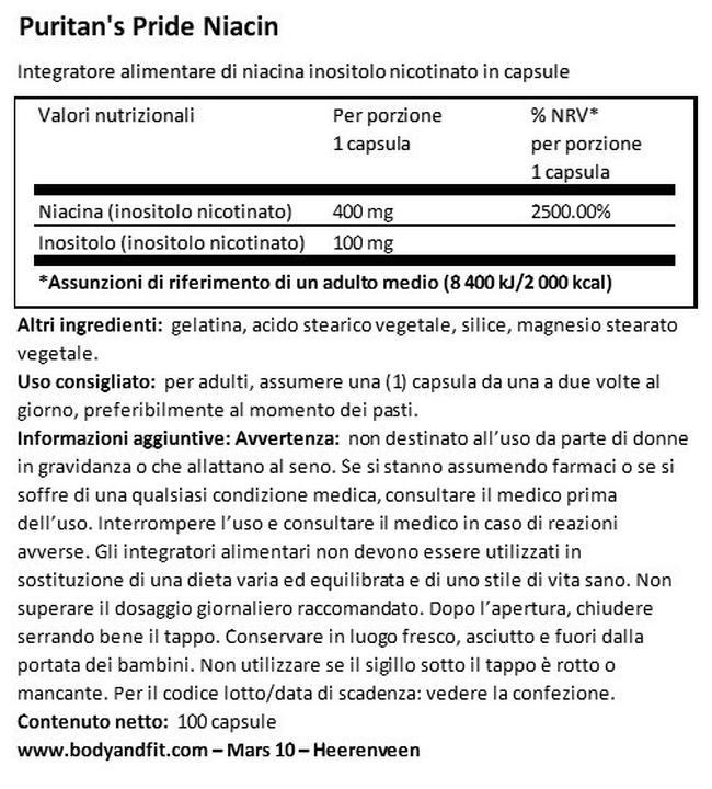 Flush Free Niacina 500 mg Nutritional Information 1