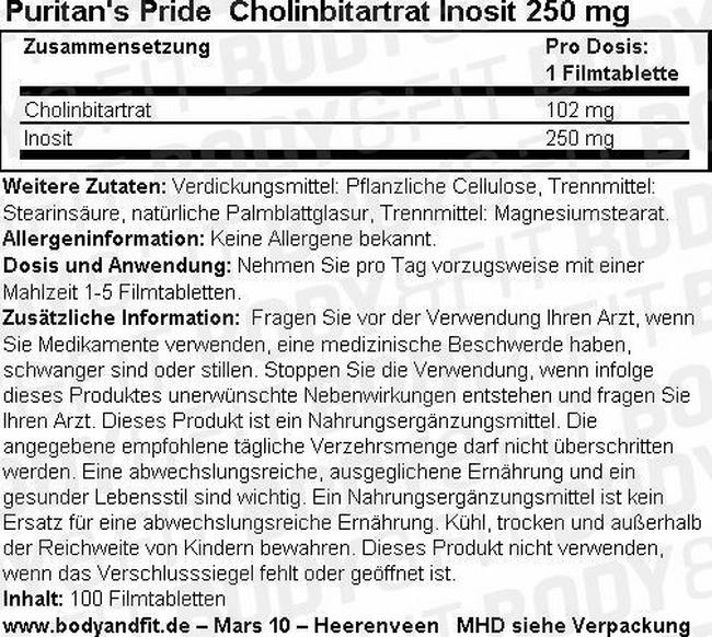 Cholinbitartrat Inosit 250 mg Nutritional Information 1