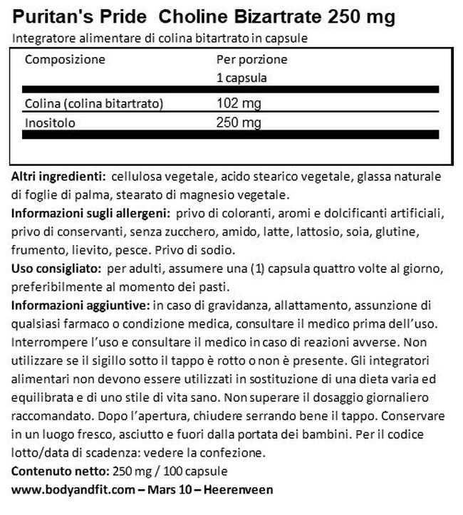 Colina Bitartrato Inositolo 250 mg Nutritional Information 1