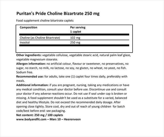 コリンバイタートゥレイトイノシトール 250mg Nutritional Information 1