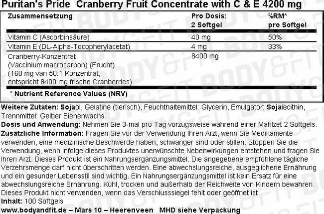 Cranberry Fruit Concentrate with C & E 4200 mg Nutritional Information 2