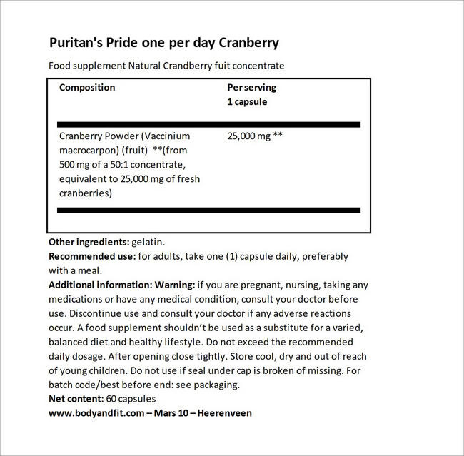 Cranberry Fruit Concentrate with C & E 4200 mg Nutritional Information 3