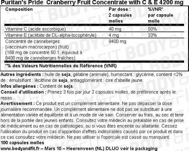 Concentré de canneberge avec vitamines C et E Cranberry Fruit Concentrate with C & E 4200 mg Nutritional Information 1
