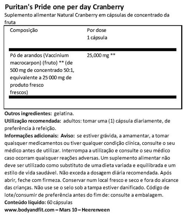 Cranberry Fruit Concentrate with C & E 4200mg Nutritional Information 1