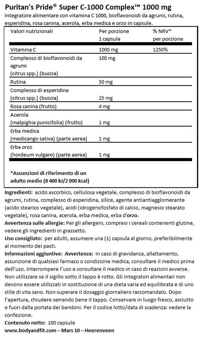 Super C-1000 Complex - 1000 mg Nutritional Information 1