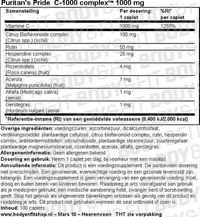 Super C-1000 Complex™ 1000 mg Nutritional Information 1