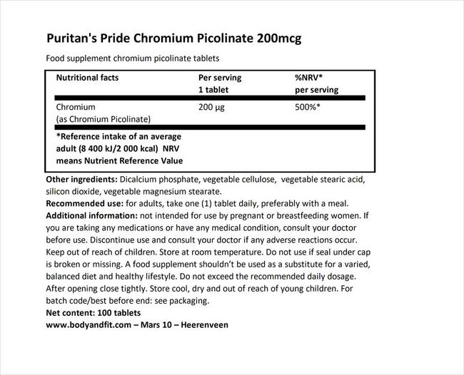Chromium Picolinate 200  µg Yeast Free Nutritional Information 1