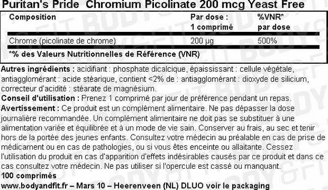 Chromium Picolinate 200 mcg Yeast Free Nutritional Information 1
