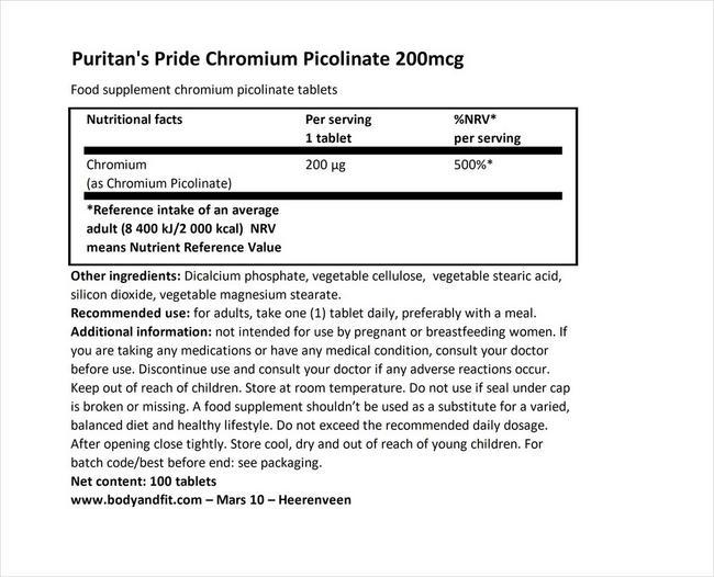 クロミウムピコリネート 200µg イーストフリー Nutritional Information 1