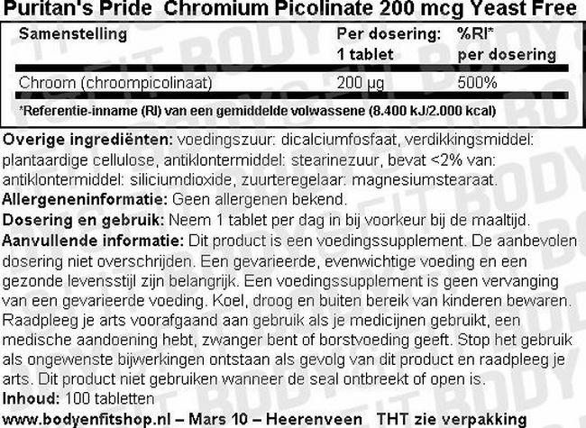 Chromium Picolinate 200 mcg Yeast Free Nutritional Information 1