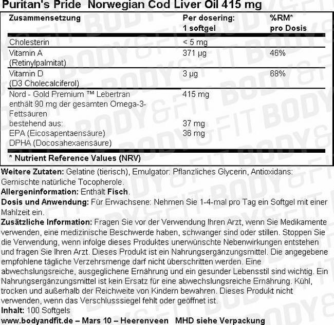 Norwegian Cod Liver Oil 415 mg Nutritional Information 1