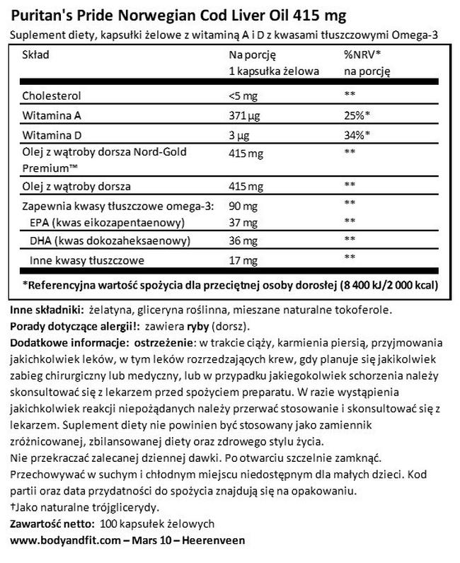 Cod Liver Oil 415 mg Nutritional Information 1