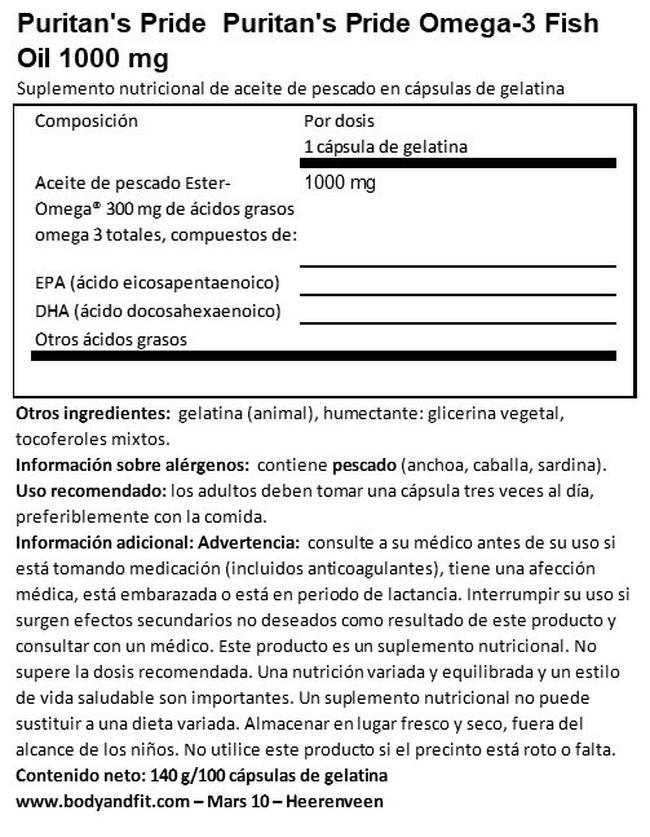 Omega 3 Aceite de Pescado 1000mg Nutritional Information 1