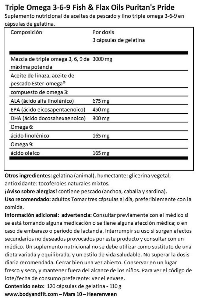 Triple Omega 3-6-9 Fish & Flax Oils Nutritional Information 1