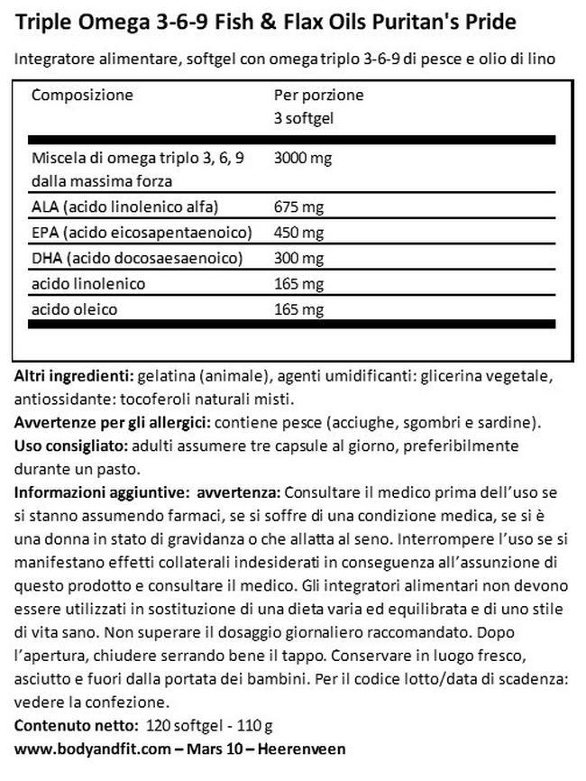 Triple Omega 3-6-9 Olio di Pesce e di Semi di Lino Nutritional Information 1
