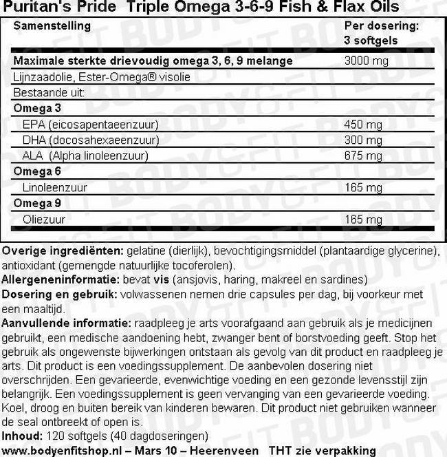 Triple Omega 3-6-9 Visolie & Lijnzaadolie Nutritional Information 1
