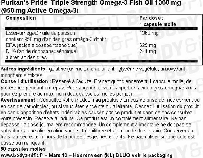 Triple Strength Omega-3 Fish Oil 1360 mg (950 mg Active Omega-3) Nutritional Information 1