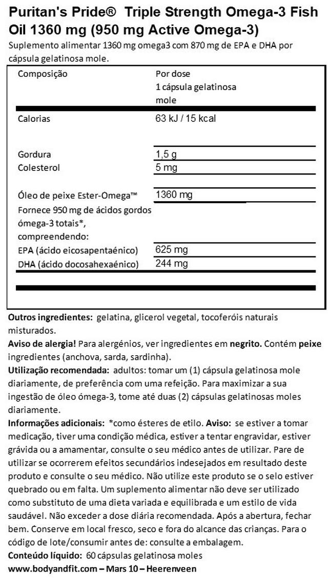 Triple Strength Omega-3 Fish Oil 1360 mg (950 mg de ómega 3 ativo) Nutritional Information 1