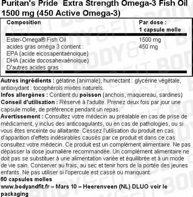 Huile de poisson Extra Strength Omega-3 Fish Oil 1500 mg (450 mg Active Omega-3) Nutritional Information 1