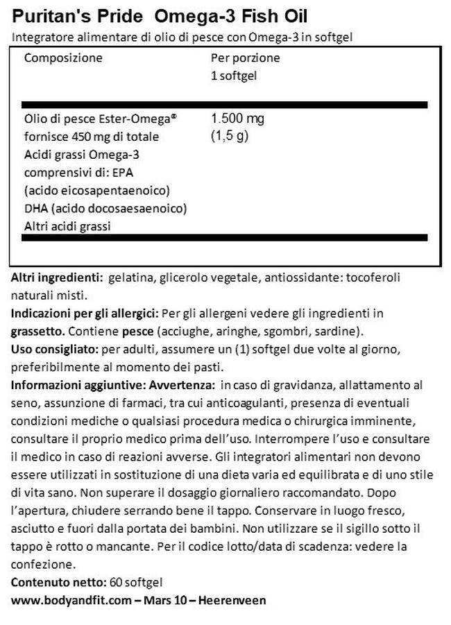 Extra Strength Omega-3 Fish Oil 1500mg (450mg Omega-3 attivo) Nutritional Information 1