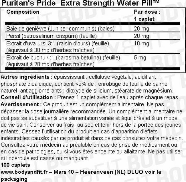 Gélules Extra Strength Water Pill™ Nutritional Information 1