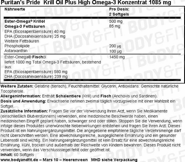 Krill Oil Plus High Omega-3 Nutritional Information 1