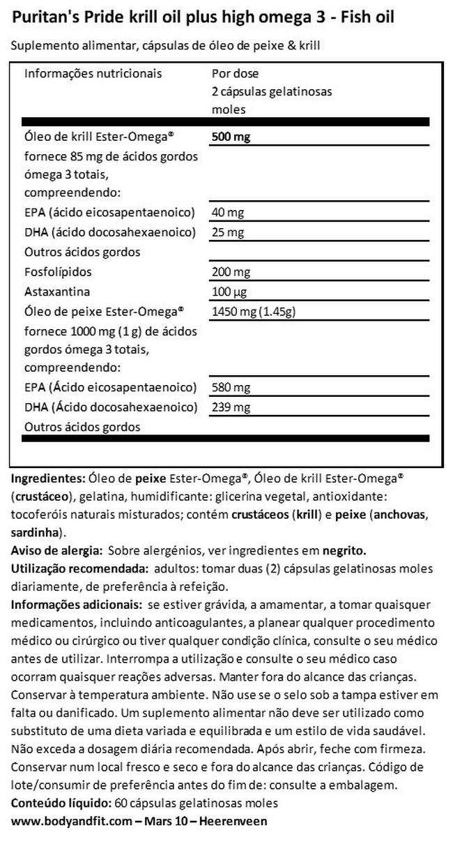 Krill Oil High Omega-3 Concentrate 1085 mg Nutritional Information 1