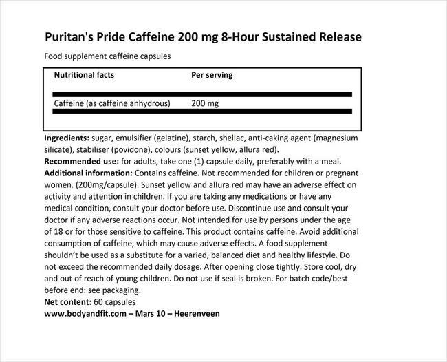 カフェイン200mg 8アワー サステインドリリース Nutritional Information 1