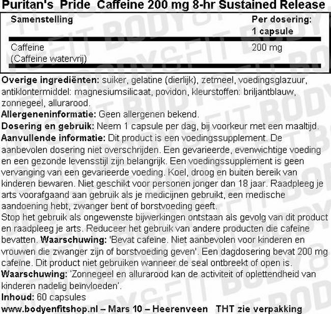 Caffeine 200 mg 8-Hour Sustained Release Nutritional Information 1