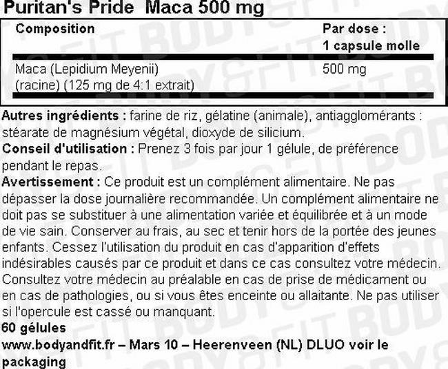 Maca 500 mg Nutritional Information 1