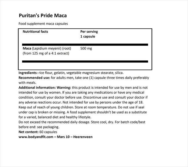 マカ 500mg Nutritional Information 1