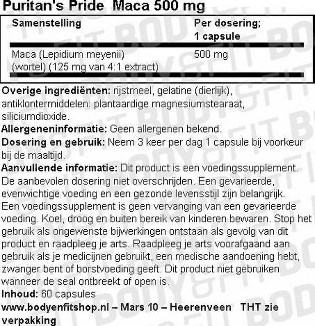 Maca 500 mg Nutritional Information 1
