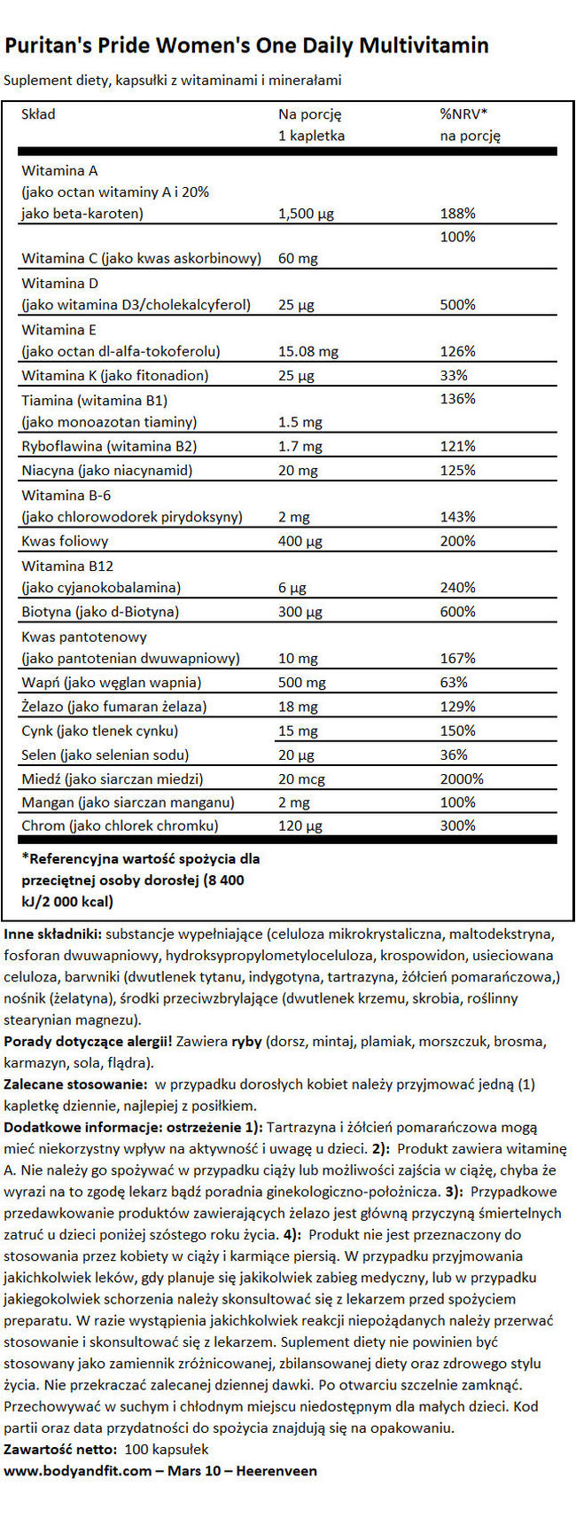 Women's One Daily Multivitamin Nutritional Information 1
