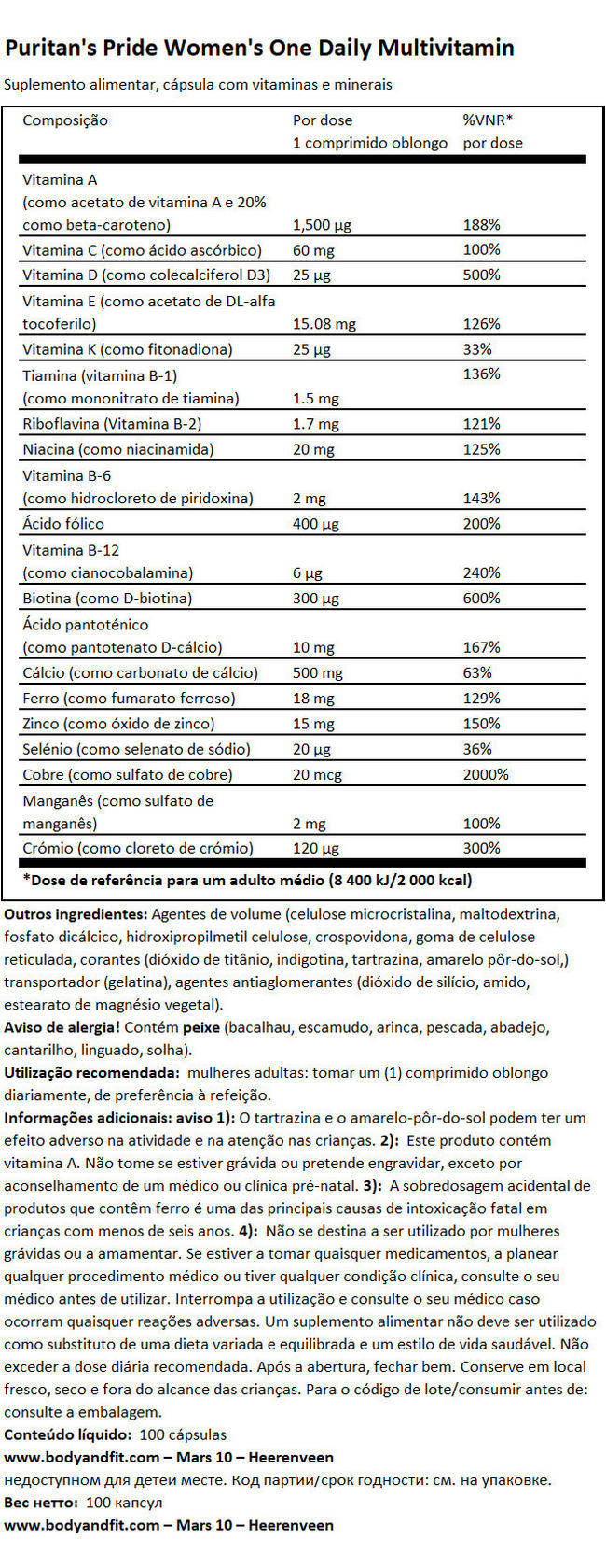 Women's One Daily Multivamin Nutritional Information 1