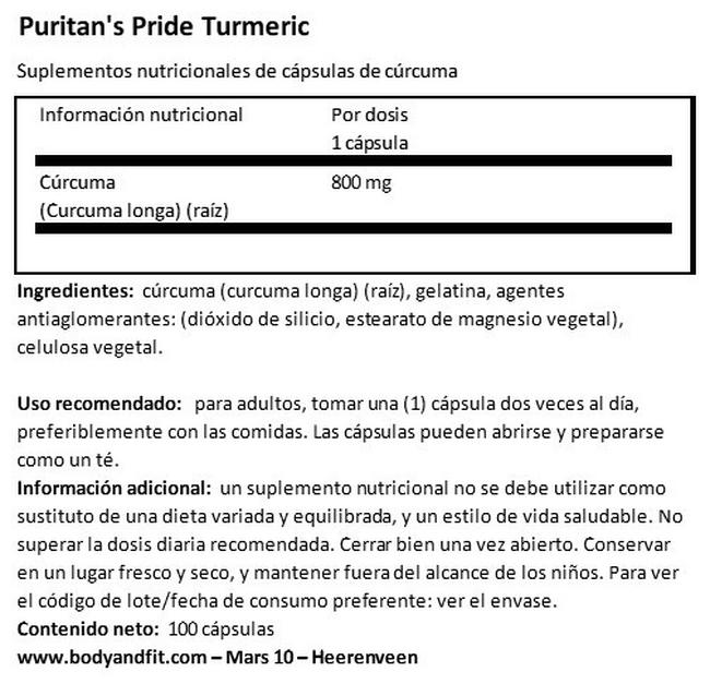 Turmeric 800 mg Nutritional Information 1
