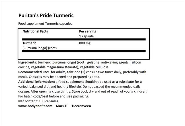 Turmeric 800mg Nutritional Information 1