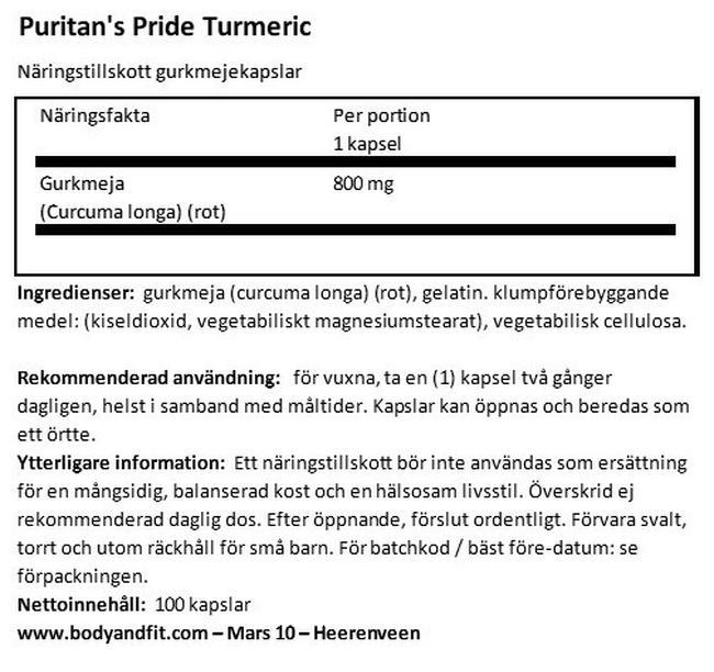 Turmeric 800mg Nutritional Information 1