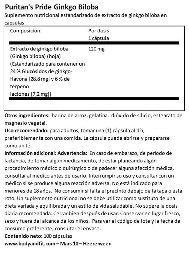 Extracto de Ginkgo Biloba 120 mg Nutritional Information 1