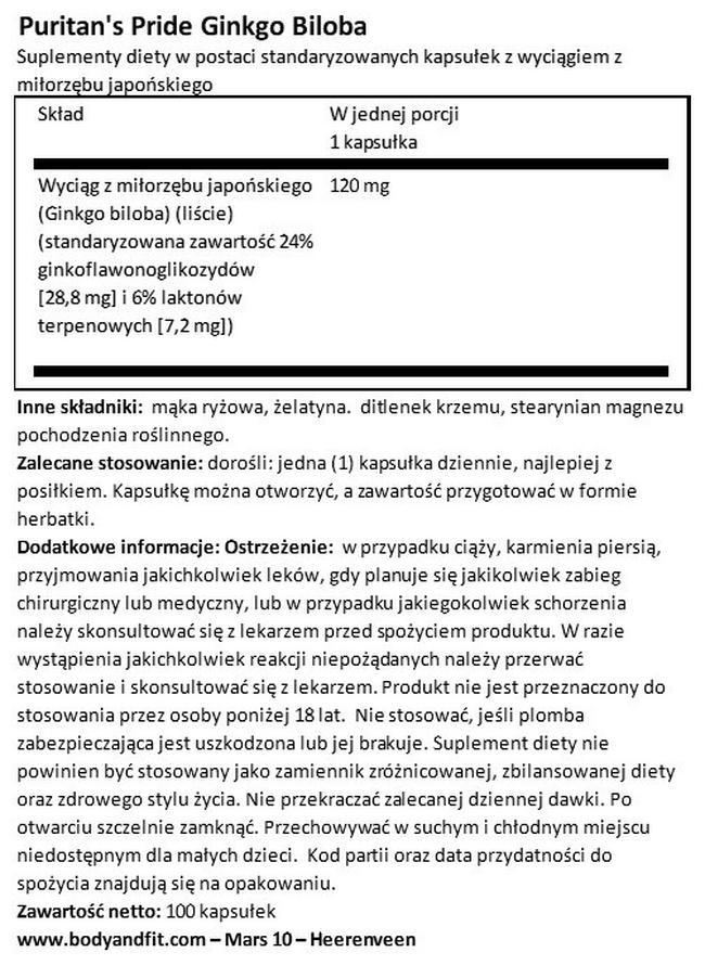 Ginkgo Biloba standarized extract 120 mg Nutritional Information 1