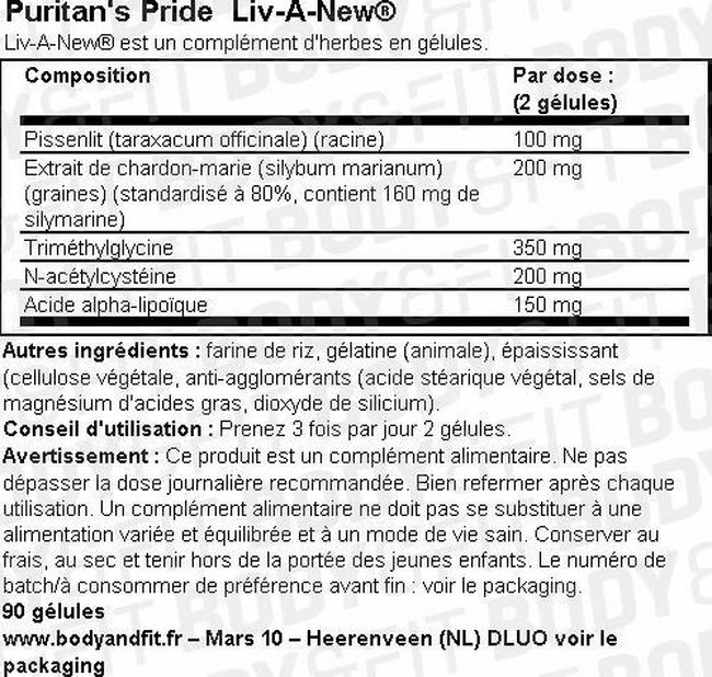 Liv-A-New® Nutritional Information 2