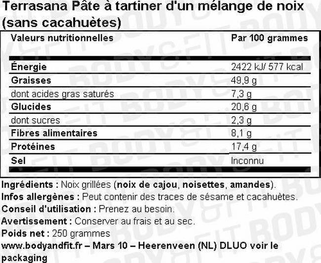 Pâte à tartiner de mélange de noix (sans cacahuètes) Nutritional Information 1