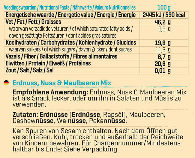 Peanuts, Nuts & Mulberries Mix Nutritional Information 1