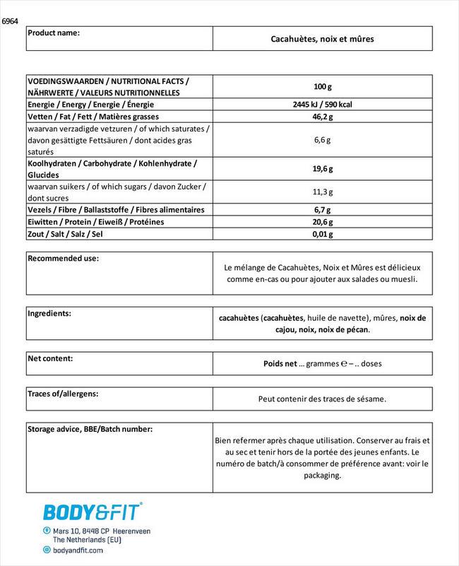 Cacahuètes, noix et mûres Nutritional Information 1