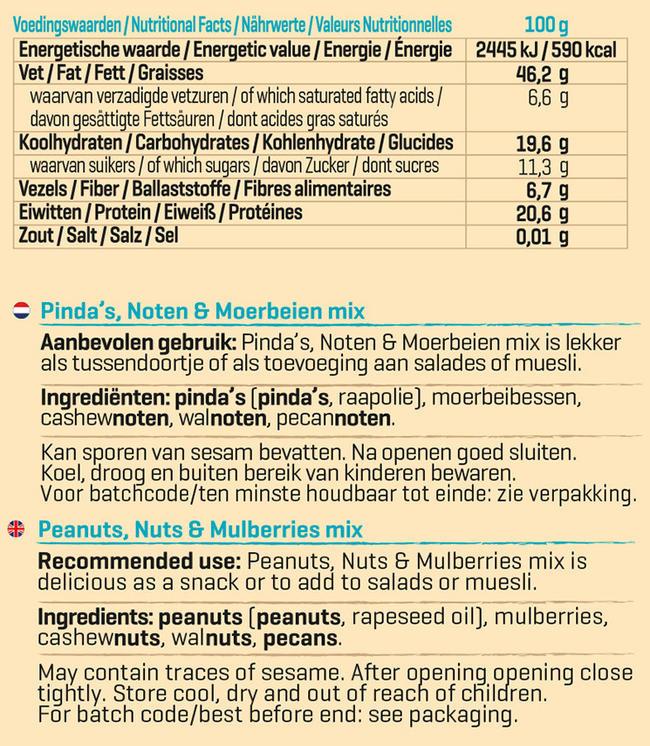 Pinda, Noten en Moerbei Nutritional Information 1