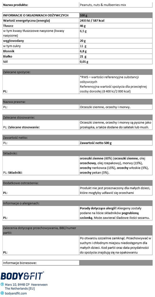 Mieszanka orzeszków ziemnych, orzechów i morwy Nutritional Information 1
