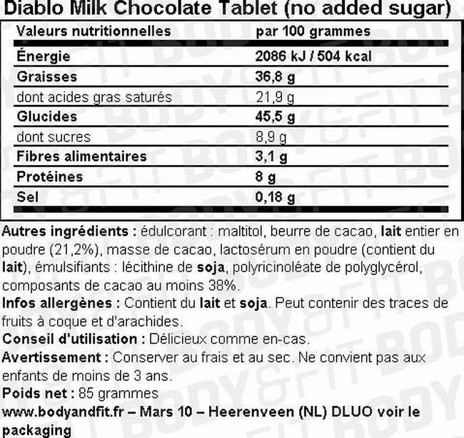 Milk Chocolate Tablet (no added sugar) Nutritional Information 1